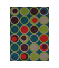 Joy Carpets Circle Back Pattern Circle Rectangle Classroom Rug, Tropics