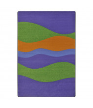 Joy Carpets Flow Striped Rectangle Classroom Rug, Violet