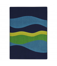 Joy Carpets Flow Striped Rectangle Classroom Rug, Navy