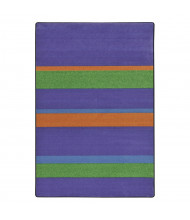 Joy Carpets Straight & Narrow Striped Rectangle Classroom Rug, Violet