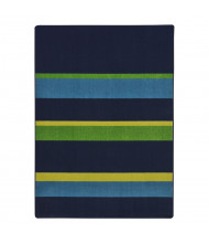 Joy Carpets Straight & Narrow Striped Rectangle Classroom Rug, Navy