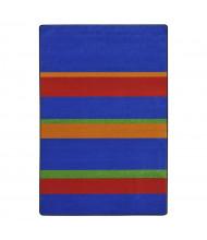 Joy Carpets Straight & Narrow Striped Rectangle Classroom Rug, Primary