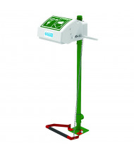 Justrite Plastic Closed Bowl Galvanized Steel Pipe Eyewash Station, Pedestal Mount