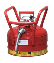 "Justrite 7325130 Type II AccuFlow DOT 2.5 Gallon Steel Safety Can, 1"" Hose, Red"