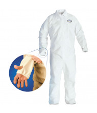 KleenGuard A40 Breathable Back Coverall with Thumb Hole, White/Blue, Large, 25/Pack