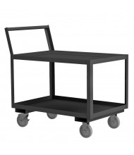 "Durham Steel 2-Shelf 1200 lb Load Low Deck Stock Carts With 1.5"" Lip"