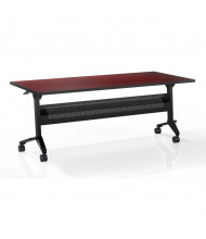 "Mayline Flip-N-Go LF1860T 60"" W x 18"" D Nesting Training Table (Shown in Cherry with Black Base)"