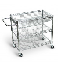 "Luxor 3-Shelf 18"" x 30"" Wire Basket Steel Utility Cart 200 lb Load"