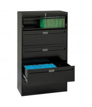 """Tennsco 5-Drawer 42"""" Wide Lateral File Cabinet, Letter & Legal, Black"""