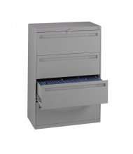 """Tennsco 4-Drawer 42"""" Wide Lateral File Cabinet - Medium Grey"""