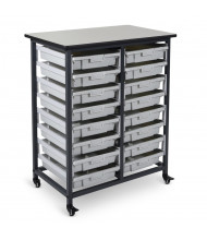 Luxor 16-Drawer Mobile Small Plastic Storage Bin Unit