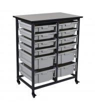 Luxor 12-Drawer Mobile Small & Large Plastic Storage Bin Unit