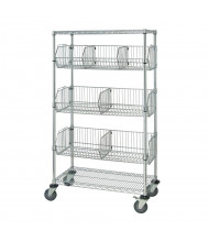 "Quantum Storage 5-Shelf 69"" H Wire Basket Mobile Wire Shelving Units"
