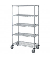 Quantum Storage 5-Shelf 3-Sided Chrome Wire Stock Carts