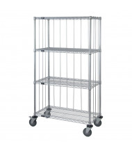 Quantum Storage 4-Shelf 3-Sided Chrome Wire Stock Carts