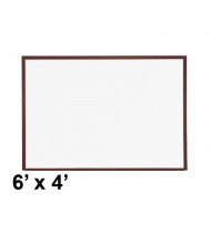 Best-Rite M202WG Mahogany Wood Trim 6 ft. x 4 ft. Porcelain Steel Magnetic Whiteboard