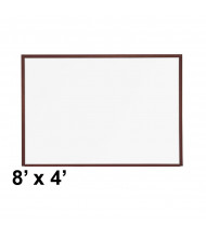 Best-Rite M202WH Mahogany Wood Trim 8 ft. x 4 ft. Porcelain Steel Magnetic Whiteboard
