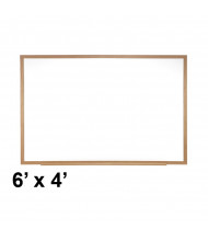 Ghent M3W-46-4 Spectra 6 ft. x 4 ft. Wood Frame Magnetic Painted Steel Whiteboard