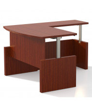 "Mayline Aberdeen 72"" W Electric L-Shaped Bow Front Height Adjustable Desk (Shown in Cherry)"