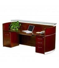 """Mayline Napoli NRSBF 87"""" W Reception Desk with Pedestals (Shown in Sierra Cherry)"""
