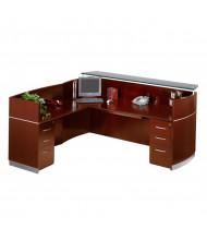 Mayline Napoli NRSLBB L-Shaped Reception Desk with Pedestals (Shown in Sierra Cherry)