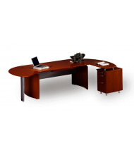 """Mayline Napoli NT4 72"""" W Executive Office Desk with Pedestal, Right Return (Shown in Sierra Cherry)"""