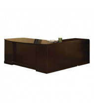 """Mayline SLLBBB72 Sorrento 72"""" Executive L-Shaped Bow Front Desk (Shown in Espresso)"""