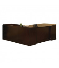 """Mayline Sorrento 72"""" Executive L-Shaped Bow Front Desk (Shown in Bourbon Cherry)"""