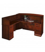Mayline Sorrento SRCSL L-Shaped Veneer Counter Reception Desk with Pedestals, Left Return (Shown in Bourbon Cherry)