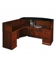 Mayline Sorrento SRCSLM L-Shaped Granite Counter Reception Desk with Pedestals, Left Return (Shown in Bourbon Cherry)