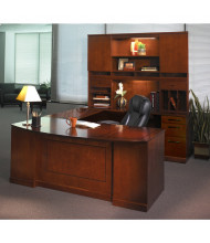 Mayline Sorrento ST1 U-Shaped Executive Office Desk Shown in Bourbon Cherry