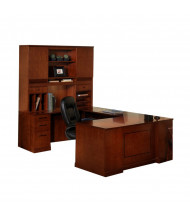 Mayline Sorrento ST4 U-Shaped Executive Office Desk Set (Shown in Bourbon Cherry)