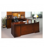 """Mayline SULBBF72 Sorrento 72"""" Executive U-Shaped Bow Front Desk (Shown in Bourbon Cherry)"""
