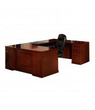 "Mayline SURSBB72 Sorrento Series 72"" Executive U-Shaped Straight Front Desk (Shown in Bourbon Cherry)"