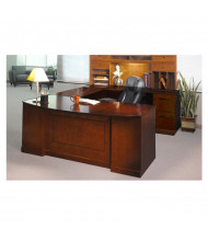 """Mayline SURBBF72 Sorrento 72"""" Executive U-Shaped Bow Front Desk (Shown in Bourbon Cherry)"""