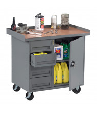 "Tennsco 42"" Wide Mobile Workbenches (1 Cabinet, 4 Drawers Model Shown)"