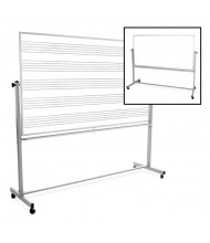 Luxor 6 x 4 Music Staff & Blank Painted Steel Magnetic Mobile Reversible Whiteboard