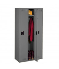 Tennsco Unassembled Single Tier 3-Wide Metal Lockers without Legs (Shown in Medium Grey)