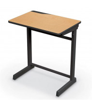 "Mooreco Essentials Edge 25.5"" W x 18"" D Adjustable Black Frame Student Desk (Shown in Maplewood)"
