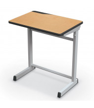 "Mooreco Essentials Edge 25.5"" W x 18"" D Adjustable Platinum Frame Student Desk (Shown in Maplewood)"