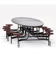 NPS 10 ft. Oval Grey Top Mobile Cafeteria Table with 12 Burgundy Stools