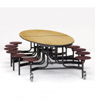 NPS 10 ft. Oval Light Oak Top Mobile Cafeteria Table with 12 Burgundy Stools
