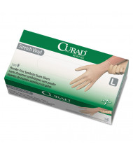 Curad Stretch Vinyl Exam Gloves, Powder-Free, Large, 150/Pack