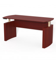 """Mayline Medina 63"""" W Electric Curved Front Height Adjustable Desk (Shown in Mahogany)"""