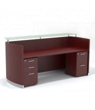 "Mayline Medina MNRSBF 87"" W Reception Desk with Pedestals (Shown in Mahogany)"