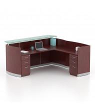 "Mayline Medina MNRSLBB 87"" W Reception Desk with Pedestals (Shown in Mahogany)"