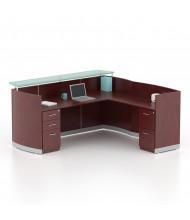 "Mayline Medina MNRSLBF 87"" W Reception Desk with Pedestals (Shown in Mahogany)"
