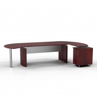 "Mayline Medina MNT4 72"" W Floating Straight Front Office Desk with Pedestal, Right Return (Shown in Mahogany)"