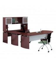 Mayline Medina MNT29 U-Shaped Executive Office Desk Set  (Shown in Mahogany)
