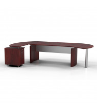 "Mayline Medina MNT2 63"" W Floating Straight Front Office Desk with Pedestal, Left Return (Shown in Mahogany)"